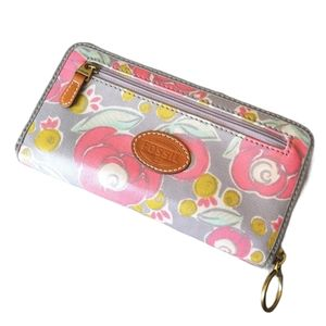 Fossil Key Per Wallet Canvas Coated Floral Long